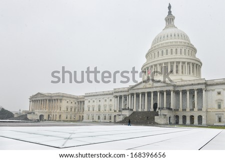 U.S. Capitol Building in snow blizzard - Washington DC, United States