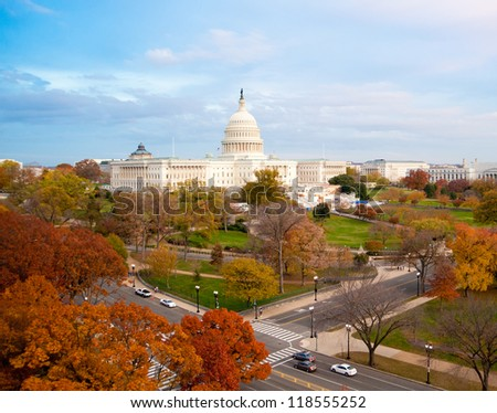 U.S. Capitol in Autumn - stock photo