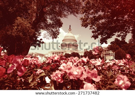 U.S. Capitol in Washington with Instagram filter look marsala - stock photo