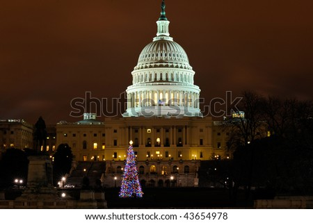 U.S. Capitol with Christmas Tree