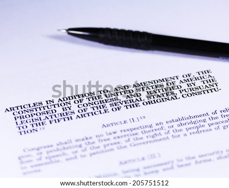 U.S. constitution part close up with a pen - stock photo