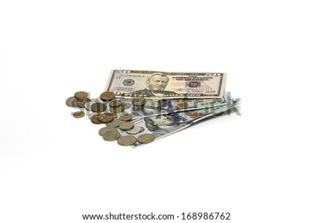 U.S. dollar and small coins. Photo. - stock photo