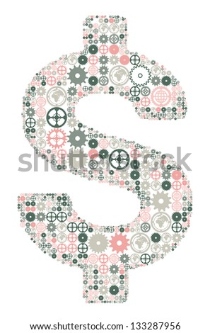 U.S. dollar sign on a white background, made of colored gears - stock photo