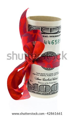 U.S. dollars banknotes with a loop as a gift of money - stock photo