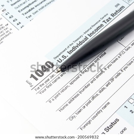 U.S. Individual Income Tax Return form 1040. - stock photo