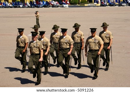 U.S. Marine Corp Drill Instructors at Graduation Ceremony, August 31, 2007. San Diego California. - stock photo