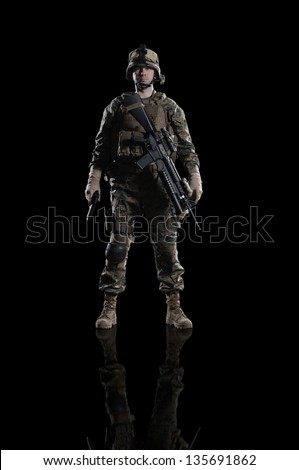 U.S. military marine. soldier . Studio shooting. frontal pose. with reflections. With alpha channel - in my gallery - stock photo