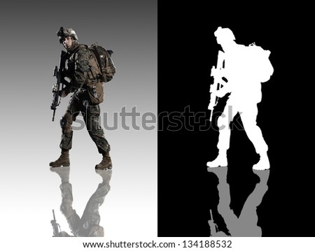 U.S. military marine. Studio shooting. With alpha channel. Turn left. with reflections. - stock photo