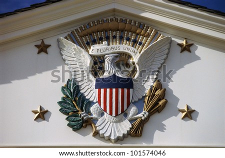 U.S. National Emblem and Presidential Seal at Herbert Hoover Site, West Branch, Iowa - stock photo