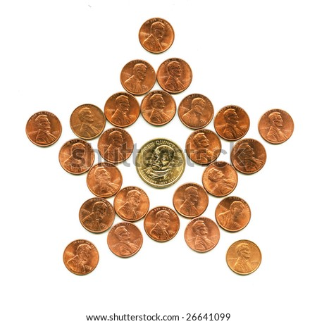 U.S. national star. Figure of nickel coins. - stock photo