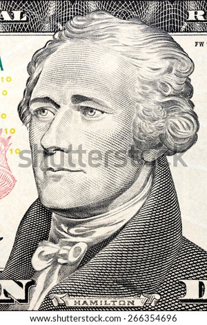 U.S. President Alexander Hamilton on the ten dollar bill. - stock photo