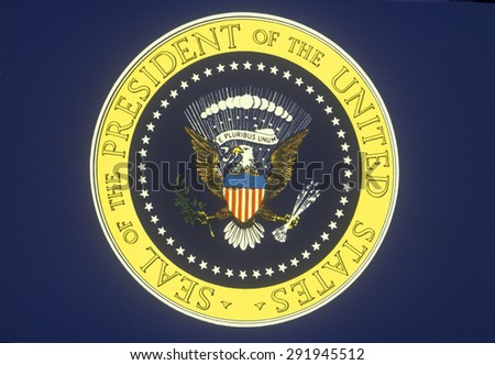 U.S. Presidential Seal, symbol for the American President - stock photo