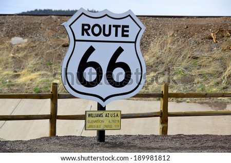 U.S. Route 66 (US 66 or Route 66), also known as the Will Rogers Highway and colloquially known as the Main Street of America or the Mother Road. - stock photo