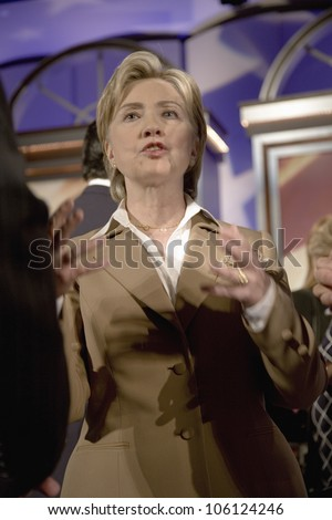U.S. Senator, Former First Lady and Presidential Candidate, Hillary Clinton, speaking after Iowa Democratic Presidential Debate, Drake University, Des Moines, Iowa, August 19, 2007 - stock photo