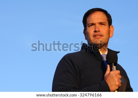 U.S. Senator Marco Rubio, Republican of Florida, speaks in Bedford, New Hampshire, on October 6, 2015. - stock photo