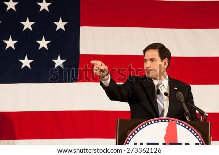 U.S. Senator Marco Rubio, Republican of Florida, speaks in Nashua, New Hampshire, USA, on April 18, 2015. - stock photo