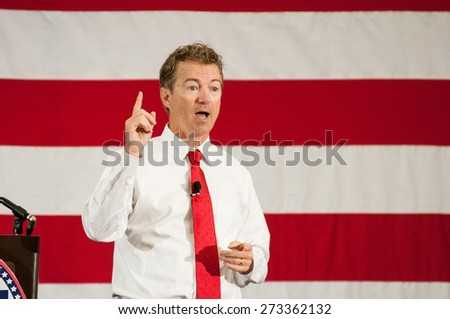 U.S. Senator Rand Paul, Republican of Kentucky, speaks in Nashua, New Hampshire, USA, on April 18, 2015. - stock photo