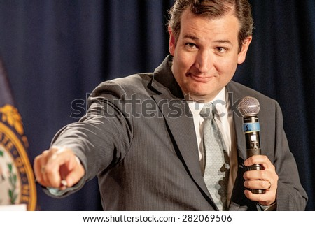U.S. Senator Ted Cruz, Republican of Texas, speaks at the Americans for Prosperity Freedom Summit in Manchester, New Hampshire, April 12, 2014. - stock photo