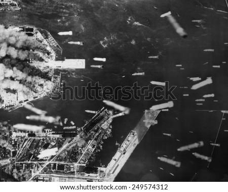 U.S. 21st Bomber Command dropped incendiary bombs on Osaka, Japan. June 1, 1945, World War 2. - stock photo