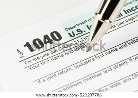 U.S. Tax form business financial concept.