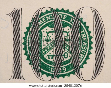 U.S. Treasury Seal on 100 dollar bill extreme macro, united states money closeup - stock photo