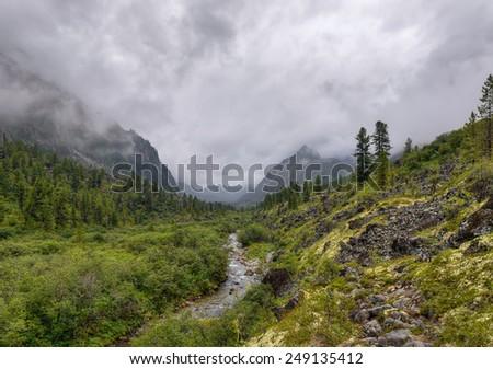 U-shaped valley. Eastern Sayan. The Republic of Buryatia - stock photo