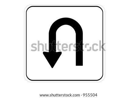 U turn permitted sign isolated on a white background - stock photo