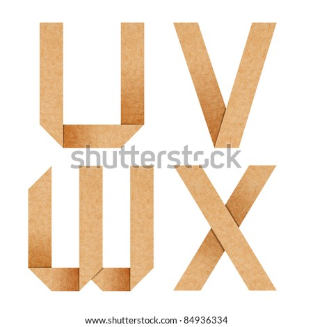 U,V,W,X Origami alphabet letters from recycled paper with clipping path - stock photo