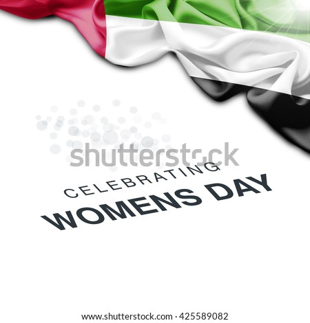 UAE Abstract waving Flag and Plain background with Typography Celebrating Women Day 8th March - stock photo