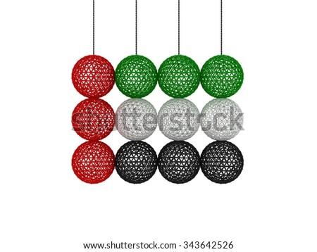 UAE FLAG | Hanging Yarn Ball Style - stock photo