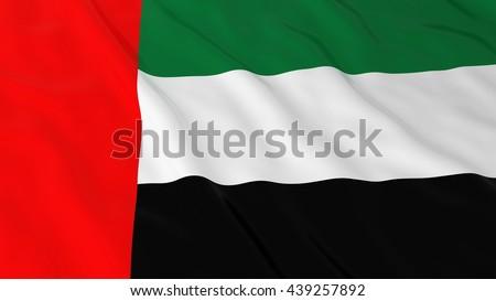 UAE Flag HD Background - Flag of the United Arab Emirates 3D Illustration - stock photo