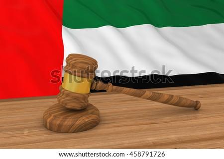 UAE Law Concept - Flag of the United Arab Emirates Behind Judge's Gavel 3D Illustration - stock photo