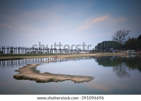 Ubein Bridge in sunrise, Mandalay, Myanmar