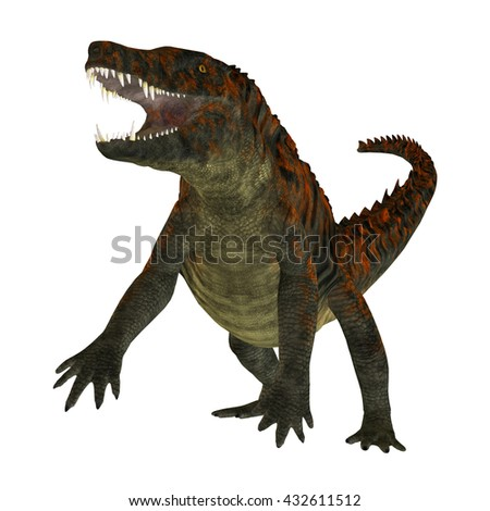 Uberabasuchus on White 3D Illustration - Uberabasuchus was an archosaur carnivorous crocodile that lived in the Cretaceous Period of Brazil.