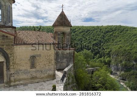 Ubisa monastery in Imereti region of Georgia. - stock photo