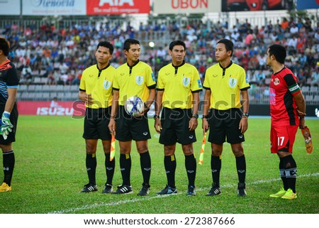 UBONRATCHATHANI THAILAND-APRIL 19: Referee on soccer match during Toyota League Cup between Sisaket FC and Ubon Umt United at Ubon Ratchathani on April 19,2015,Thailand - stock photo