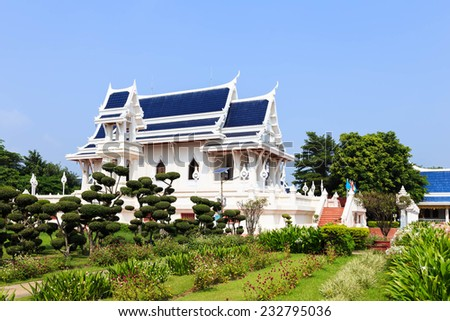 Ubosot or Ordination Hall at thai temple kushinagar, India - stock photo