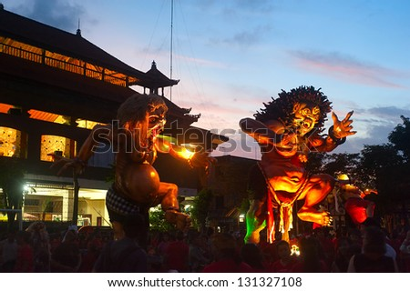 UBUD, BALI - MARCH 12: Statue Ogoh-Ogoh during the celebration of Nyepi - Balinese Day of Silence on March 12, 2013 in Ubud, Bali, Indonesia. Day following Nyepi is also celebrated as New year