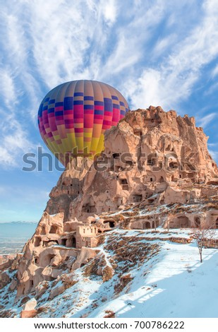 Uchisar castle and unique geological formations in Pigeon Valley, Cappadocia, Turkey