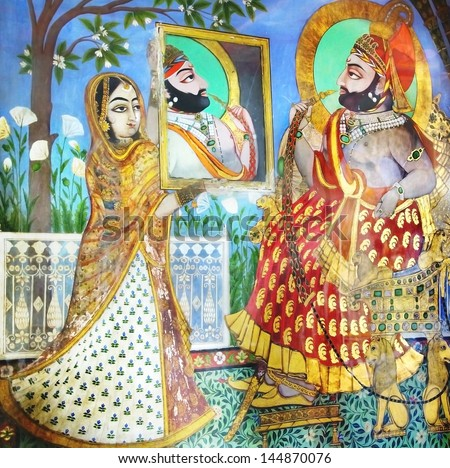 UDAIPUR, INDIA - JANUARY 16: The fresco in the City Palace on January 16, 2012 in Udaipur, India. City Palace was built by the Maharana Udai Singh as the capital of the Sisodia Rajput clan in 1559.  - stock photo