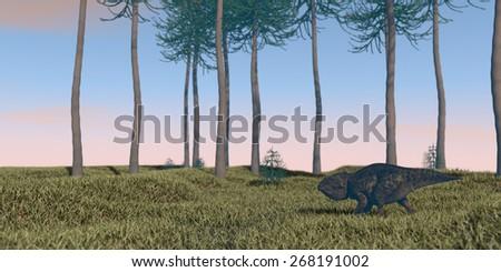 udanoceratops wamking on grassterrain - stock photo