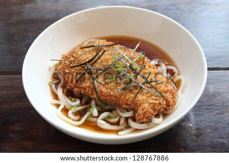 Udon noodles with fired pork - stock photo