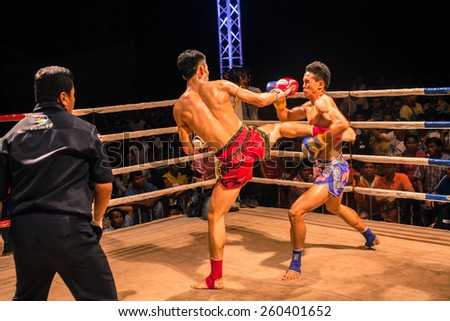 Udon Thani, Thailand, March 13: A boxer who did not compete in the World Muay Thai fights Thailand fantastic fight on March 13, 2015 in the province of Udon Thani, Thailand. - stock photo