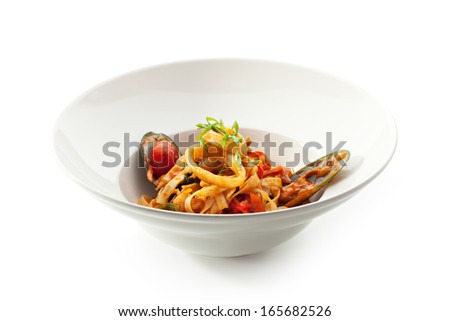 Udon with Seadood and Vegetables - stock photo