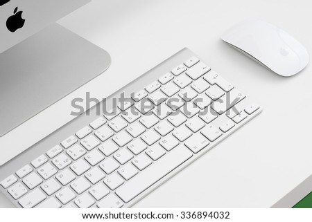 UFA, RUSSIA - NOVEMBER 6, 2015: Photo of new iMac, With keyboard and magic mouse. iMac - monoblock series of personal computers, created by Apple Inc. - stock photo
