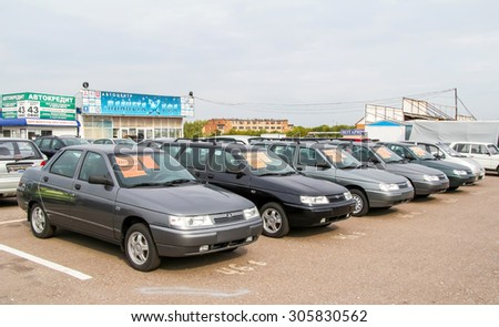 UFA, RUSSIA - SEPTEMBER 5, 2011: Brand new motor cars Lada 2110 at the trade center. - stock photo