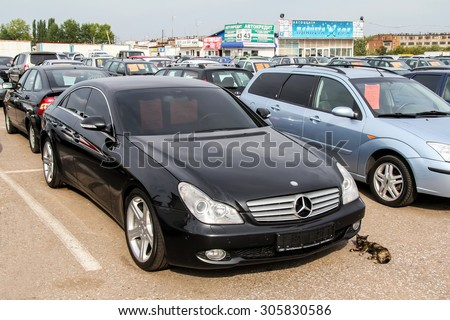 UFA, RUSSIA - SEPTEMBER 5, 2011: Motor car Mercedes-Benz W219 CLS-class at the trade center.