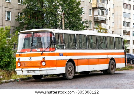 UFA, RUSSIA - SEPTEMBER 18, 2011: Soviet coach LAZ 699R Turist at the city street. - stock photo
