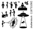 UFO Alien Invaders Stick Figure Pictogram Icon - stock vector