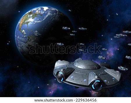 UFO attacks the Earth - stock photo